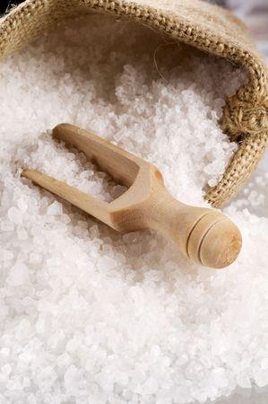 Sea salt coming out of a burlap sack Stock Photo - 5655757