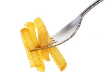 Pommes frites auf einer Gabel Standard-Bild - 5692866