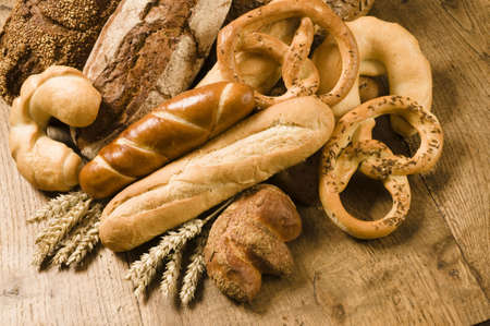 french roll: Variety of baked products Stock Photo