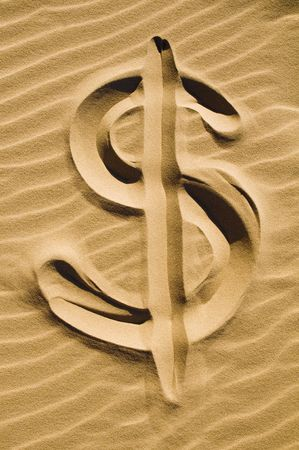 sand dollar: Dollar sign drawn in the sand