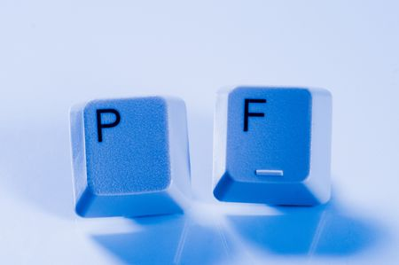 pf: Computer keys with letters PF on them Stock Photo