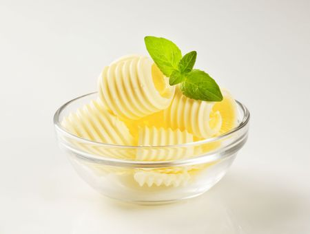 Butter curls in a glass bowl Stock Photo - 5972707