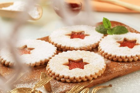 Shortbread cookies with jam filling  Stock Photo