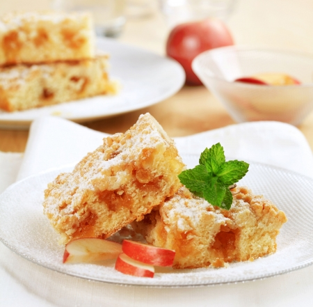 Slices of homemade apple cake