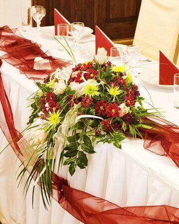 Tables set for a festive dinner  photo