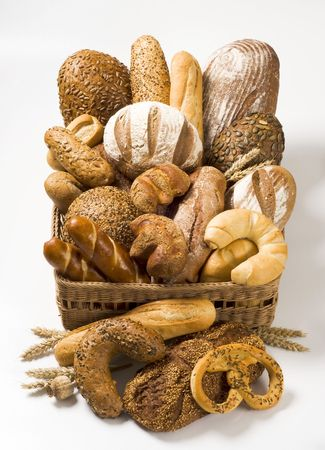 Variety of baked products in a basket photo