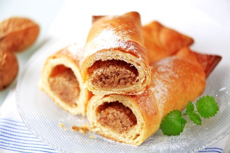 Sweet pastry rolls with nut filling  Stock Photo - 6380389