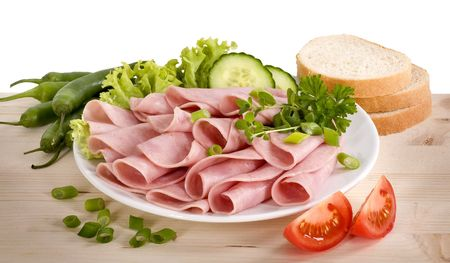 luncheon: Slices of ham arranged on a plate