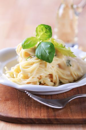 Portion of spaghetti with cheese sauce  photo