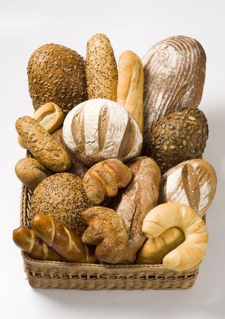 Variety of bread in a basket photo