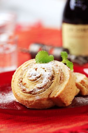 Crisp sweet rolls with nut filling photo
