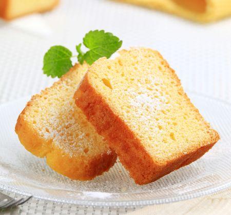 pound cake: Slices of pound cake