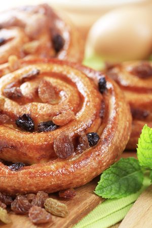 danish: Danish pastry with raisins Stock Photo