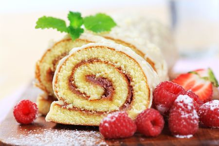 cake with icing: Swiss roll