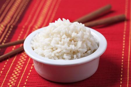 riso bianco: Ciotola di riso bianco  Archivio Fotografico