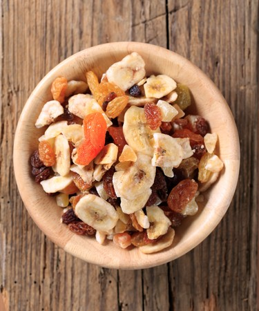 overhead: Bowl of mixed dried fruit