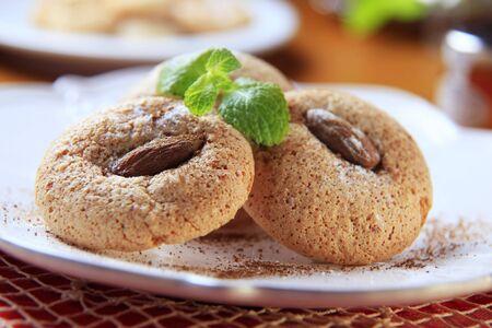 Crispy almond macaroons on a plate Stock Photo - 7239669