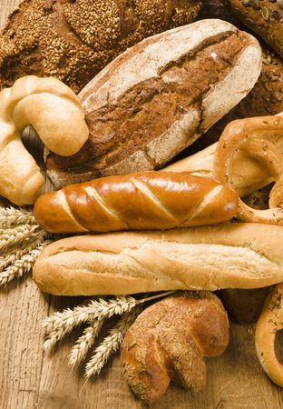 french bread rolls: Variety of baked products   Stock Photo