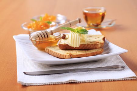 toasted: Breakfast - Toasted bread, butter, honey and preserve