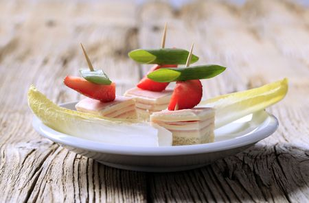 endive: Ham and cheese canapes and endive - detail