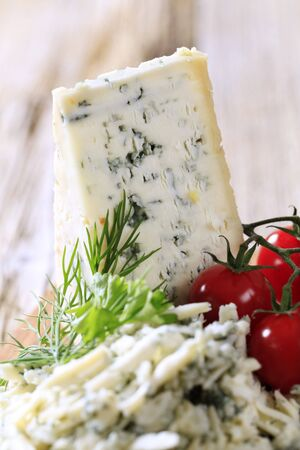 Blue cheese and fresh tomatoes - detail photo