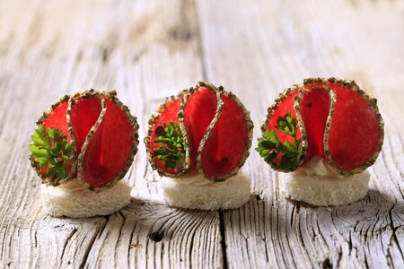 Spice coated salami canapes garnished with parsley photo