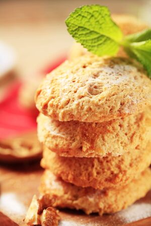 Crisp cookies on a cutting board - closeup Stock Photo - 7424745
