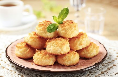 Stack of coconut macaroons on a decorative plate Stock Photo - 7512989