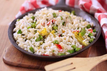 skillet: Fried rice in a black skillet