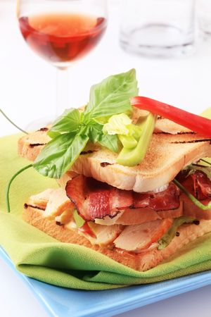 Delicious turkey and bacon sandwich -  detail Stock Photo - 7566695