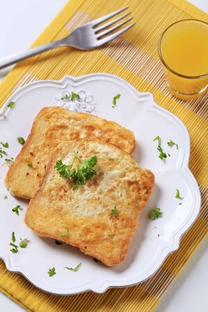toast: Two slices of French toast on a plate Stock Photo
