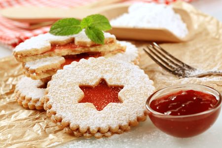 Shortbread cookies with jam filling - detail photo