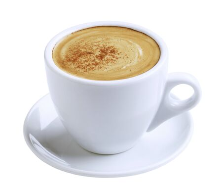 hot coffee: Cup of coffee with froth and cinnamon