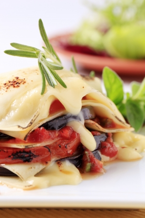 meatless: Tomato and eggplant lasagna topped with cheese Stock Photo