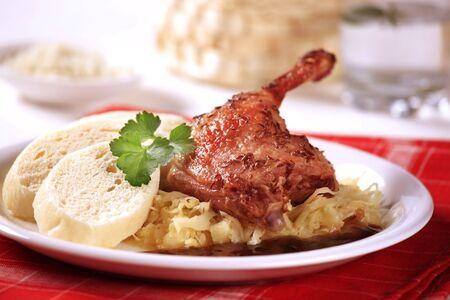 Czech ciusine - Roast duck with sauerkraut and dumplings  photo