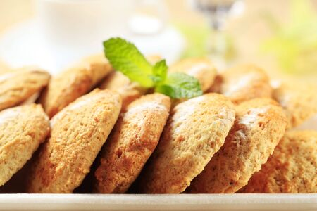 Rows of oatmeal cookies - close up Stock Photo - 8044001