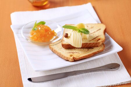 Breakfast - Toasted bread, butter and marmalade