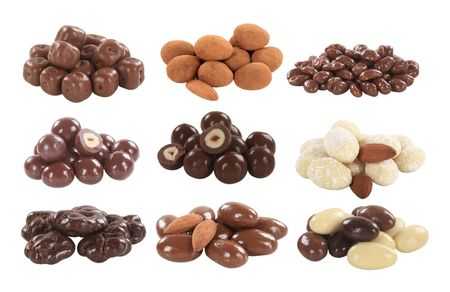 Chocolate covered nuts and dried fruit - cutout