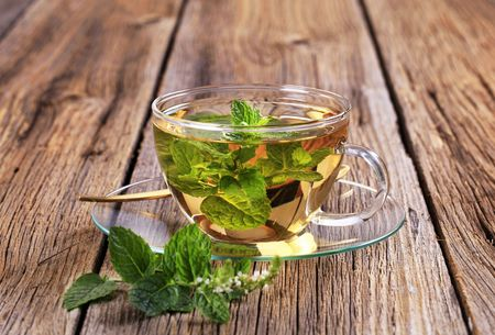 Mint tea made of fresh mint leaves photo