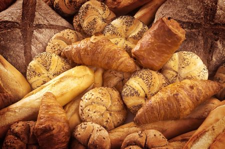 Variety of fresh bread and pastry Stock Photo - 8192400