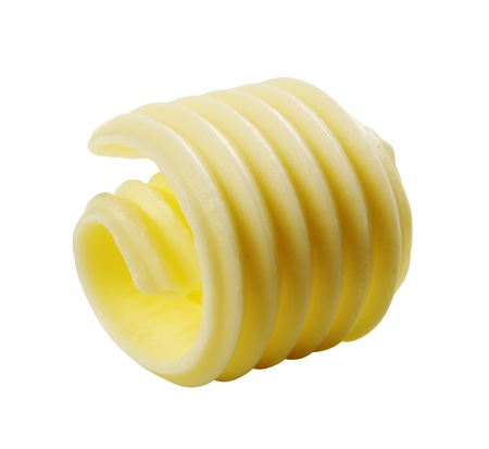 Butter curl isolated on white