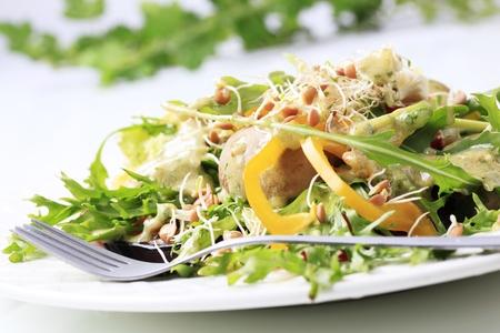 lenteja: Ensalada de verduras con verduras, setas y germinados de lentejas