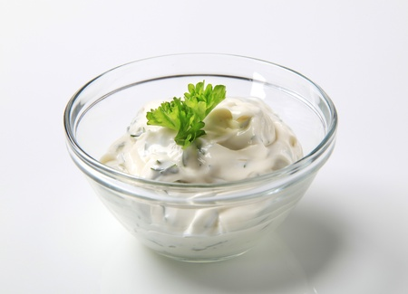 Bowl of salad dressing - studio shot