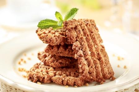 Stack of wholegrain nutty cookies - closeup