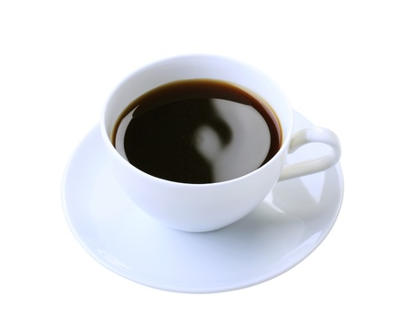 Cup of black coffee isolated on white photo