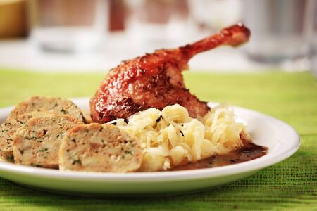 Roast Duck with Cabbage and  Bread  Dumplings - Czech cuisine photo