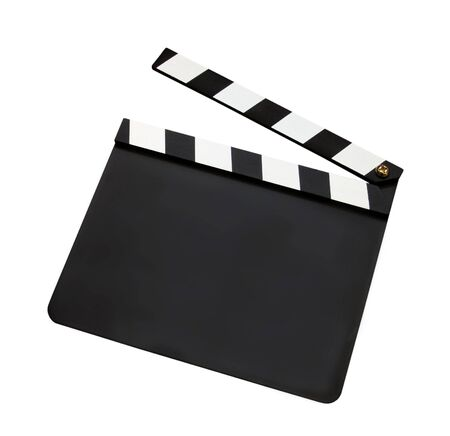 filmmaking: Film clap board isolated on white background