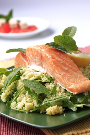 Pan roasted salmon fillet and couscous - detail Stock Photo - 8766671