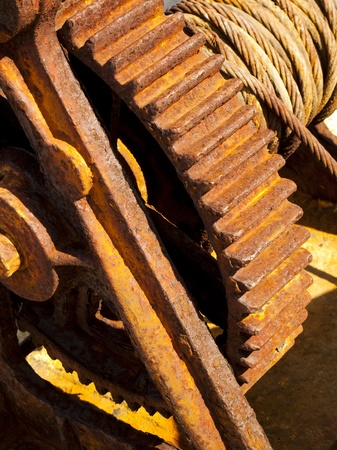 Detail of a rusty vintage cable winch Stock Photo - 8766687