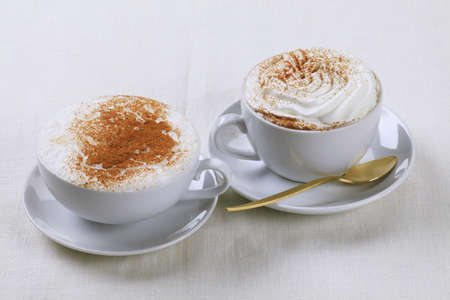 Two cups of coffee drinks - closeup Stock Photo - 8845954
